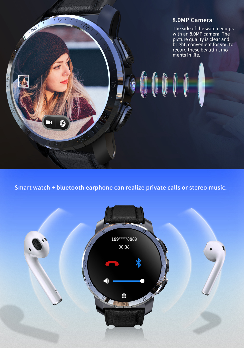 Kospet Optimus Pro Двухчиповая система 3G + 32G 4G-LTE Watch Phone AMOLED 8.0MP 800 мАч GPS Google Play Смарт-часы - фото 10