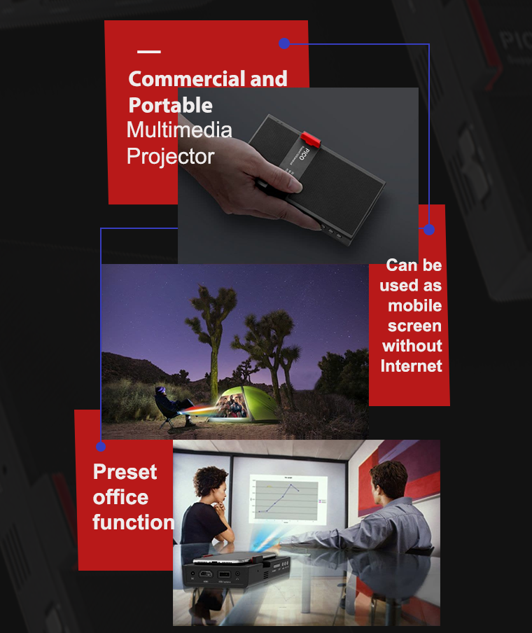 DMP8DLP1920*1080 1080P 200 люмен СВЕТОДИОД Проектор Мини домашний кинотеатр HD Мини Проектор Bluetooth 4.0 - фото 4
