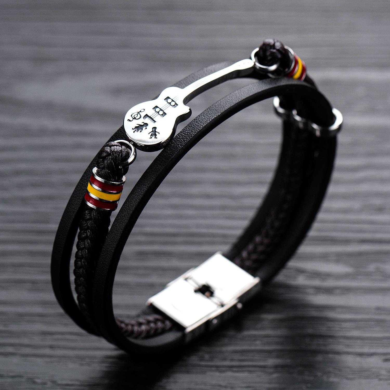 Панк мужской кожаный многослойная плетеная кожа Веревка браслет - фото 1