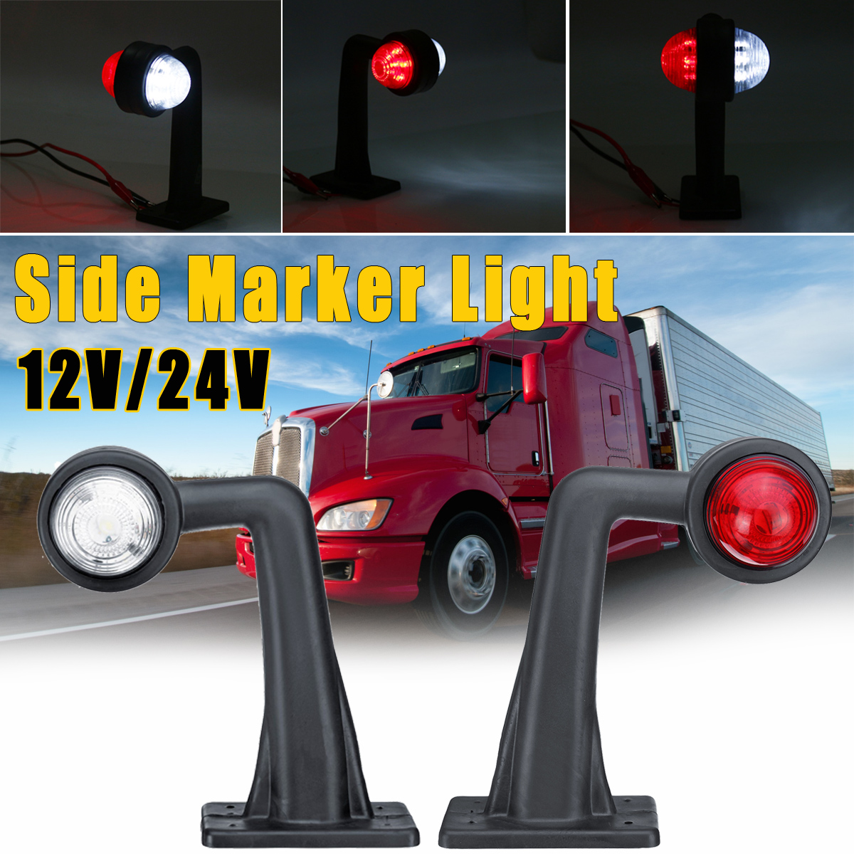Pair LED Индикатор боковых габаритных огней Лампа 12V / 24V Красный Белый для Авто Грузовой автомобиль с прицепом Lorry - фото 1