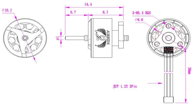 3BHOBBY Racing Мотор 3BR-08028 KV12000 / 16000 1S-2S Бесколлекторный мотор для RC Дрон - фото 1