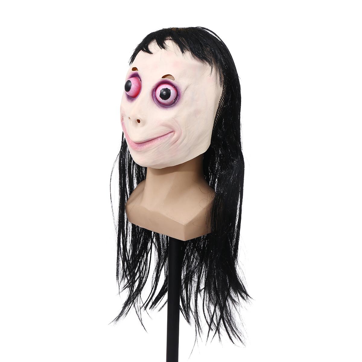 LED Scary Momo Маска Игра Ужасы Маска Косплей с полной головой Момо Маска Большой Глаз С Длинными Париками Реквизит Hall - фото 7