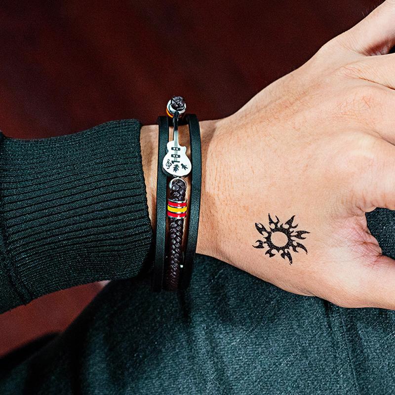 Панк мужской кожаный многослойная плетеная кожа Веревка браслет - фото 6