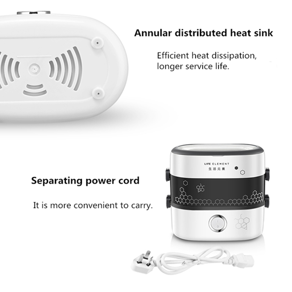 1.5L 2 слоя электрическое отопление плита обед Коробка Керамический контейнер риса продовольствия теплый Нагреватель - фото 3