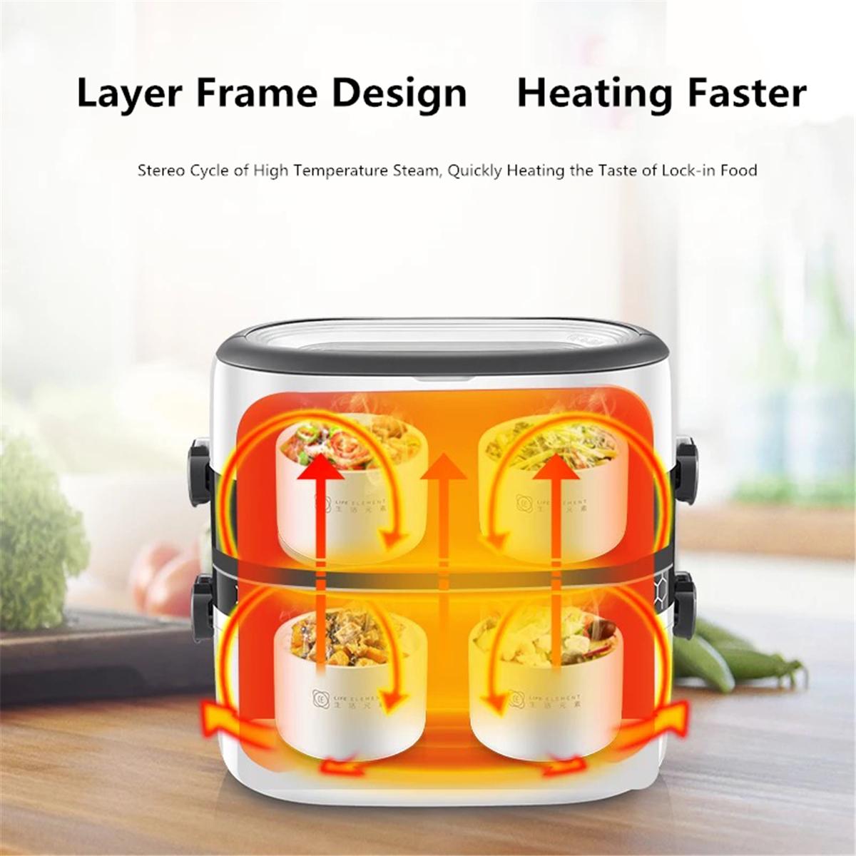 1.5L 2 слоя электрическое отопление плита обед Коробка Керамический контейнер риса продовольствия теплый Нагреватель - фото 5